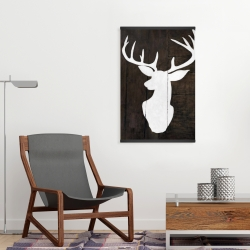 Magnetic 20 x 30 - Silhouette of a deer on wood