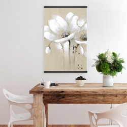 Magnetic 20 x 30 - White abstract wild flowers