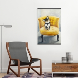 Magnetic 20 x 30 - Long-haired chihuahua on a yellow armchair