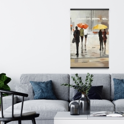 Magnetic 20 x 30 - Abstract passersby with umbrellas