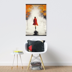 Magnetic 20 x 30 - Woman with a red coat by fall