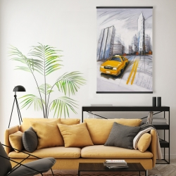 Magnetic 20 x 30 - Yellow taxi and city sketch