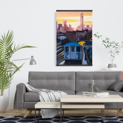 Magnetic 20 x 30 - Sunset over the subway in new-york