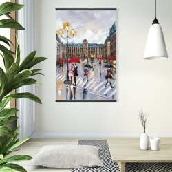 Magnetic 28 x 42 - People walking across the street by a rainy day