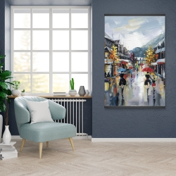 Magnetic 28 x 42 - Passersby in the street by rainy day of fall