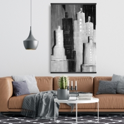 Magnetic 28 x 42 - Abstract black and white cityscape
