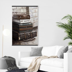 Magnetic 28 x 42 - Four old traveling suitcases