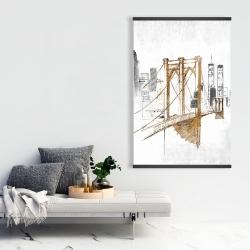 Magnetic 28 x 42 - Brooklyn bridge blurry sketch