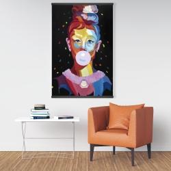 Magnetic 28 x 42 - Colorful audrey hepburn portrait with bubblegum