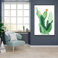Magnetic 28 x 42 - Watercolor paddle cactus with flower