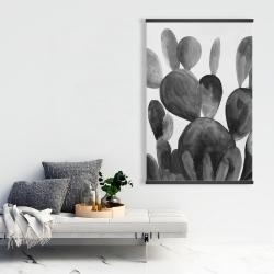 Magnetic 28 x 42 - Grayscale paddle cactus plant