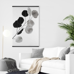 Magnetic 28 x 42 - Grayscale branch with round shape leaves
