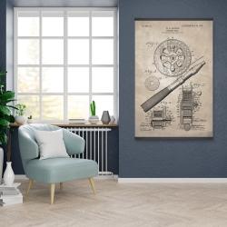 Magnetic 28 x 42 - Beige blueprint of a fishing reel