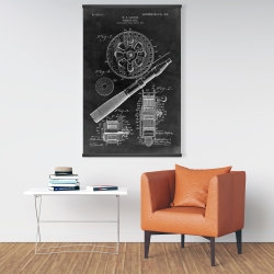 Magnetic 28 x 42 - Black blueprint of a fishing reel
