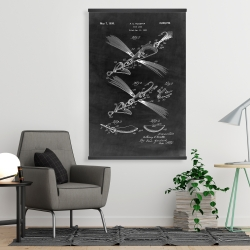 Magnetic 28 x 42 - Black blueprint of a fish lure