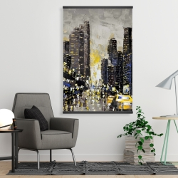 Magnetic 28 x 42 - Abstract and texturized city with yellow taxis
