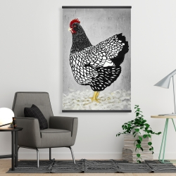 Magnetic 28 x 42 - Black and white wyandotte hen