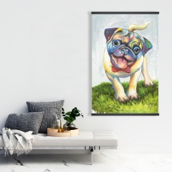 Magnetic 28 x 42 - Colorful smiling pug