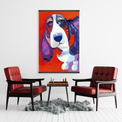 Magnetic 28 x 42 - Abstract colorful basset dog