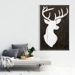 Magnetic 28 x 42 - White silhouette of a deer on wood