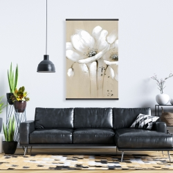 Magnetic 28 x 42 - White abstract wild flowers