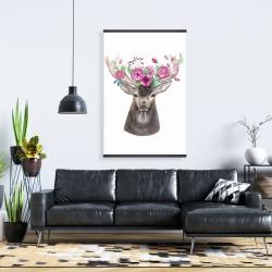 Magnetic 28 x 42 - Deer head with flowers