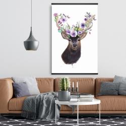 Magnetic 28 x 42 - Roe deer head with flowers