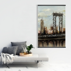 Magnetic 28 x 42 - City bridge by a cloudy day