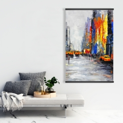 Magnetic 28 x 42 - Color spotted street with taxis