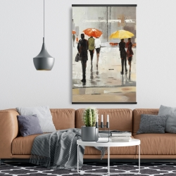Magnetic 28 x 42 - Abstract passersby with umbrellas
