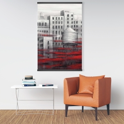 Magnetic 28 x 42 - Gray city with red clouds