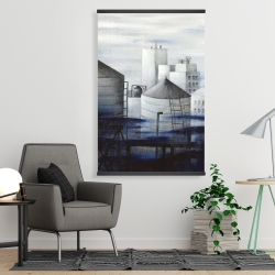 Magnetic 28 x 42 - Gray city with blue clouds