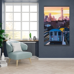 Magnetic 28 x 42 - Sunset over the subway in new-york
