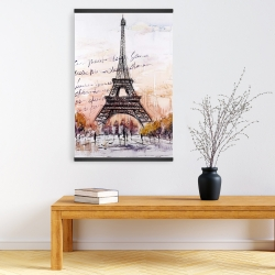 Magnetic 20 x 30 - Eiffel tower sketch with an handwritten message