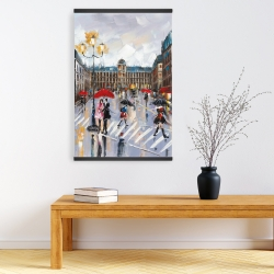 Magnetic 20 x 30 - People walking across the street by a rainy day