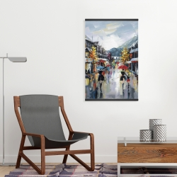 Magnetic 20 x 30 - Passersby in the street by rainy day of fall