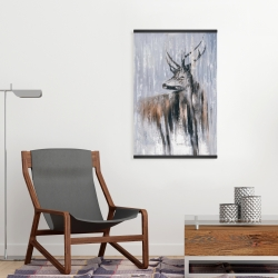 Magnetic 20 x 30 - Deer in the forest by a rainy day