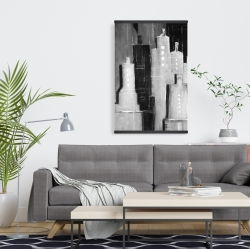 Magnetic 20 x 30 - Abstract black and white cityscape