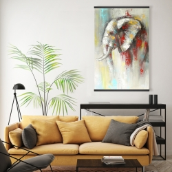 Magnetic 20 x 30 - Abstract paint splash elephant