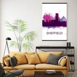 Magnetic 20 x 30 - Sheffield city color splash silhouette