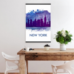 Magnetic 20 x 30 - Blue silhouette of new york city