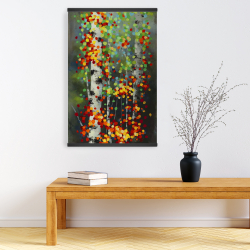 Magnetic 20 x 30 - Colorful dotted leaves birches