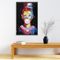 Magnetic 20 x 30 - Colorful audrey hepburn portrait with bubblegum