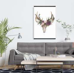 Magnetic 20 x 30 - Deer skull with flowers
