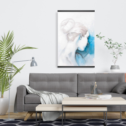 Magnetic 20 x 30 - Watercolor abstract girl with hair bun