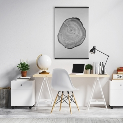 Magnetic 20 x 30 - Grayscale oval shaped tree slab