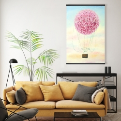 Magnetic 20 x 30 - Hot air balloon hydrangea flowers