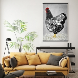Magnetic 20 x 30 - Black and white wyandotte hen