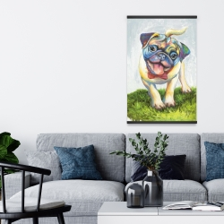 Magnetic 20 x 30 - Colorful smiling pug