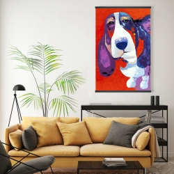 Magnetic 20 x 30 - Abstract colorful basset dog